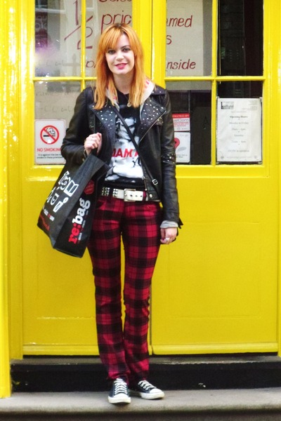 ruby red tartan unknown brand pants - black faux leather unknown brand jacket