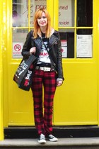ruby red tartan unknown brand pants - black faux leather unknown brand jacket
