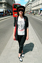 black bowler hat H&M hat - black mk one blazer - red satchel paperchase bag