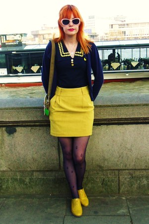 navy anchors new look tights - yellow Forever 21 skirt