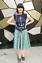 navy fringed vintage bag - sky blue striped To Be Worn Again Vintage skirt