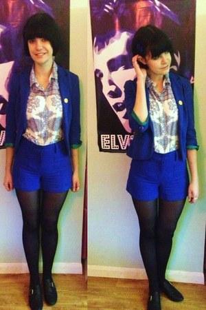 blue Zara blazer - black buckle new look shoes