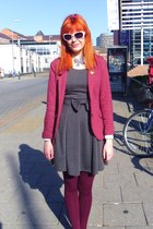 heather gray pinafore dress Just Ginger dress - maroon H&M blazer