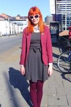 heather gray pinafore dress Just Ginger dress - maroon H&M blazer