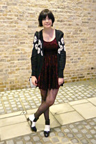 ivory checkered Mart of China boots - crimson velvet Primark dress