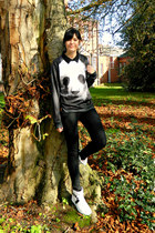 black skinny Primark jeans - black graphic panda OASAP sweatshirt