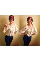 off white boho gypsy Primark top - navy Forever 21 jeans - red bandana scarf