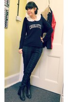 black chelsea vintage from Ebay boots - navy cashmere Gérard darel jumper
