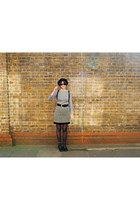 heather gray wool vintage skirt - black lace up new look boots