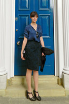 navy wrap Matalan skirt - black shoes Forever 21 heels - navy silk H&M blouse