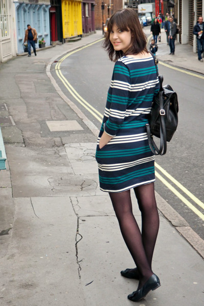 teal striped Uniqlo dress