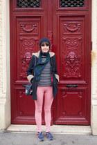 navy Joy coat - red checkered Uniqlo leggings - navy stripes new look bag