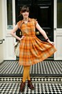 Dark-brown-leather-bally-boots-orange-checked-tartan-vintage-dress
