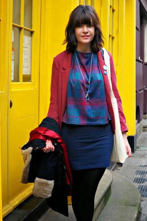 maroon blazer H&M blazer - teal brogues Clarks flats - teal new look top