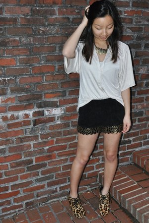 tawny leopard print Steve Madden shoes - black sequin shorts - white satin top