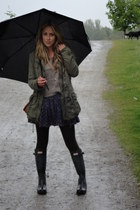 dark gray rain Hunter boots - navy worn as skirt Jack by BB Dakota dress - green