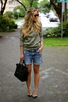green camo Windsor Store shirt - black mini shopper Celine bag