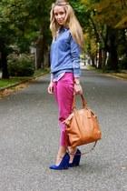 magenta cropped JCrew pants - blue suede Zara heels