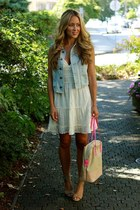 ivory eyelet Club Monaco dress - light blue denim madewell vest