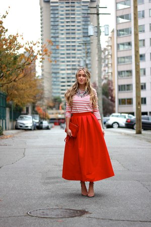 ruby red midi Chicwish skirt