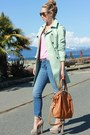 Aquamarine-trench-queens-wardrobe-jacket-tan-chloe-shoe-mint-heels