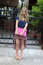 bubble gum clutch beginning boutique bag - navy cotton Style Mint shirt
