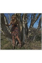 brick red navajo print LuLus dress - brown fabric Aldo belt - dark brown leather