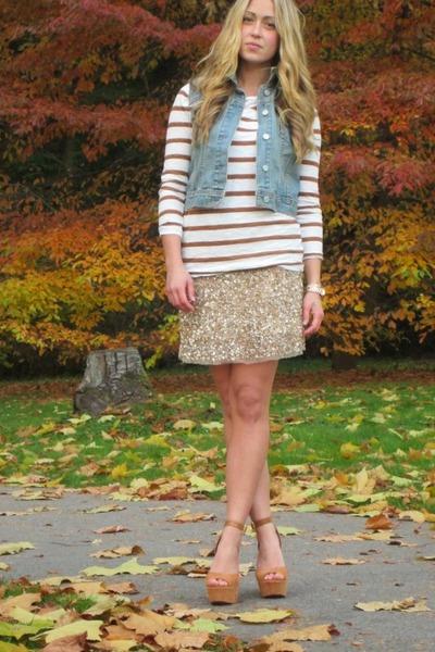 bronze sequined Zara skirt - camel striped Forever 21 shirt