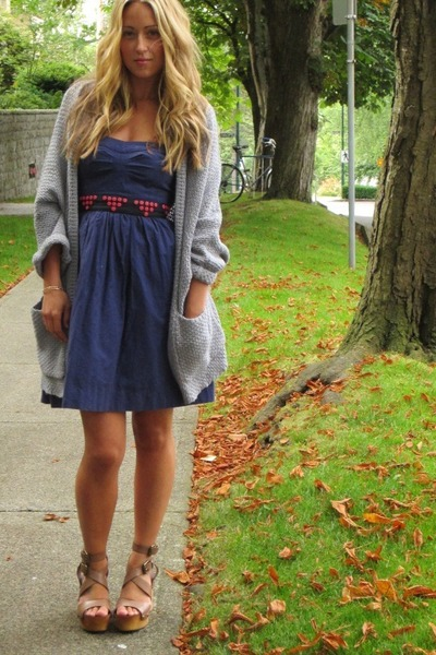 blue cotton Anthropologie dress - periwinkle knit Anthropologie sweater