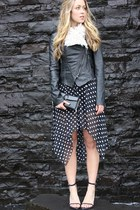 black polka dot Windsor Store skirt - dark gray leather Style Stalker jacket