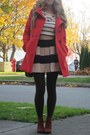 Red-button-up-old-navy-coat-tan-a-line-bcbg-generation-skirt