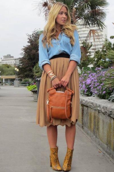 mustard silk H&M skirt - burnt orange snakeskin Zara boots
