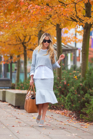 silver midi BCBGMAXAZRIA skirt