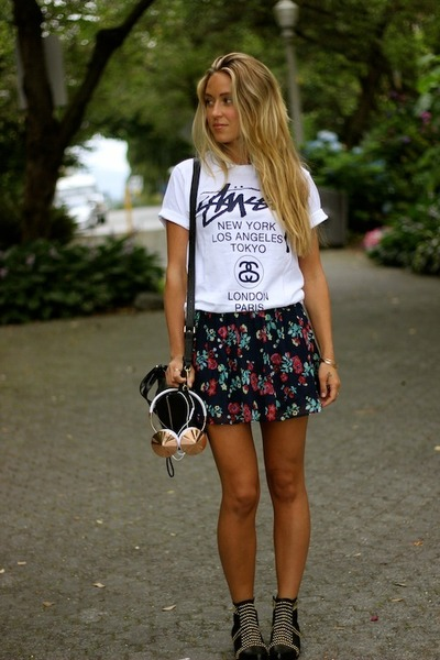 black mini 31 Phillip Lim bag - white printed Stussy t-shirt