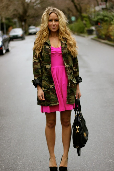 hot pink mini Rieley dress - army green camo asos jacket
