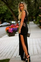 black maxi BCBG Maxazria dress