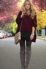Crimson-knit-uniq-sweater-black-lace-lush-skirt