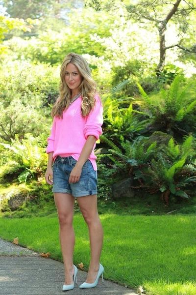 light blue kathryn heel Shoe Mint heels - hot pink knit JCrew sweater
