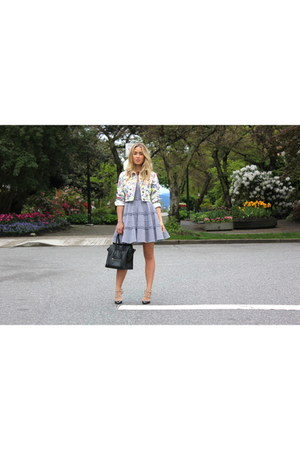 black gingham RED valentino dress - light pink floral Miu Miu jacket