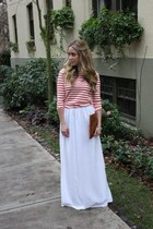 white maxi Aida Coronado skirt - red striped Style Mint top