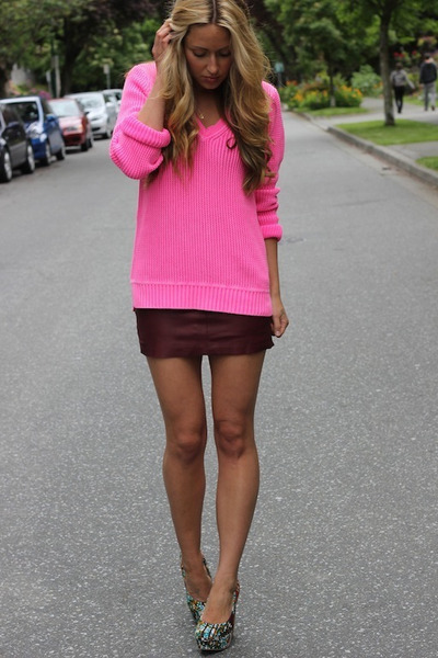 hot pink neon Jcrew sweater - crimson leather free people skirt