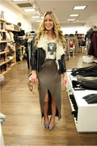 black lined Style Stalker jacket - tan split BB Dakota skirt