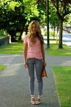 puce polka dot American Eagle jeans - white stella Alexander Wang heels