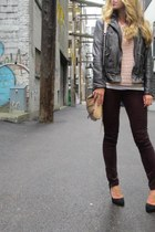 dark gray leather Muubaa jacket - light pink knit Jcrew sweater