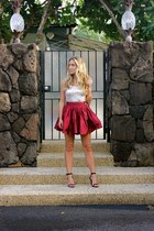 maroon mini Party Skirts skirt - light pink sequin Old Navy top