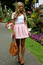 light pink a line Windsor Store skirt - camel wedges shoemint heels