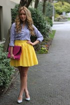 light yellow a line Blaque Label skirt - light blue checkered Gap shirt