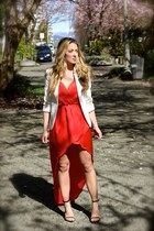 red hi-low hem Love dress - ivory cotton Zara blazer