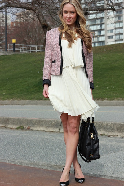 pink tweed H&M blazer - ivory pleated Moon Collection dress