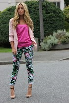 hot pink floral beginning boutique pants - beige sandals Zara heels
